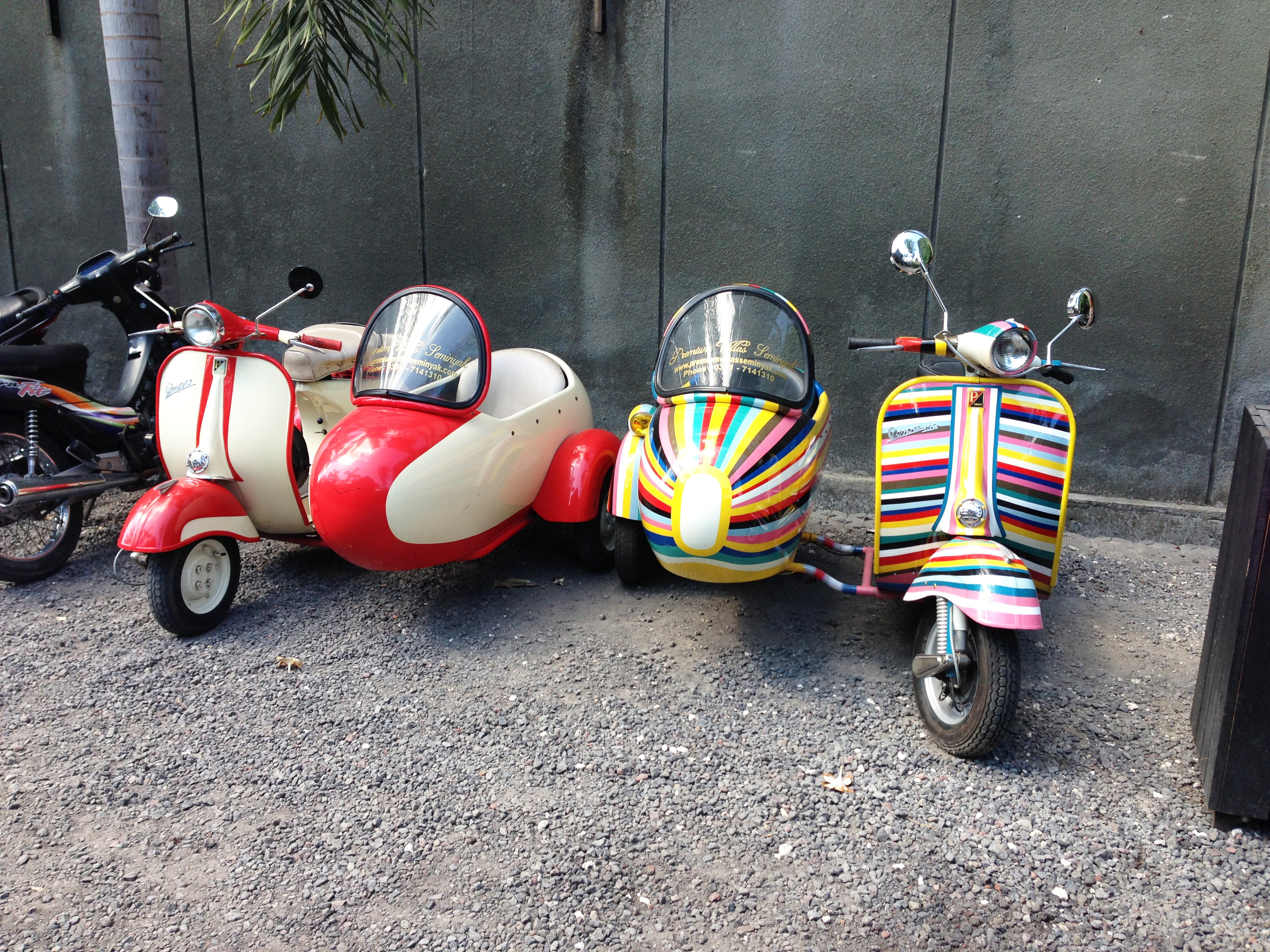 Vintage scooters and matching sidecars are popular amongst motoring fans